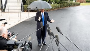 Mr Trump spoke to the press before his departure for a NATO summit in England