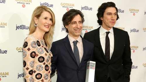 Marriage Story star Laura Dern at the Gotham Awards with writer-director Noah Baumbach (centre) and co-star Adam Driver