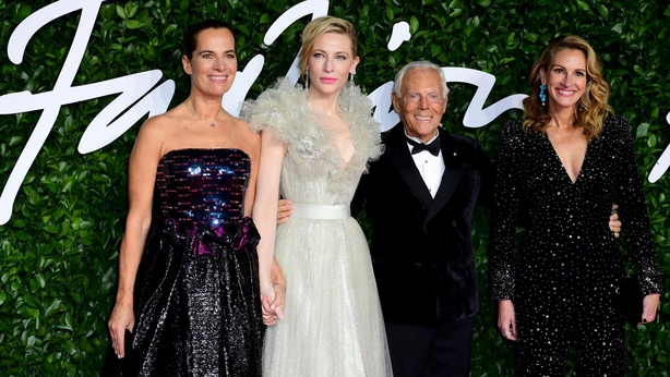 Cate Blanchett (second left), Giorgio Armani and Julia Roberts (right) attending the Fashion Awards (Ian West/PA)