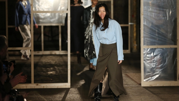 Designer Rejina Pyo takes a bow after her London Fashion Week show in February (Isabel Infantes/PA)