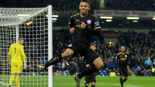 Gabriel Jesus jumps for joy after netting his second goal