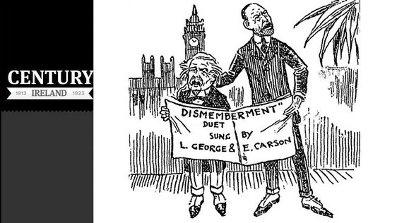 Cartoon showing Lloyd George and Edward Carson singing from the same sheet, regarding the partition of Ireland Photo: Sunday Independent, 27 July 1919