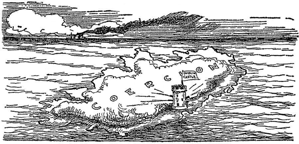 A cartoon showing Ireland under a fog of coercion, emanating from Dublin Castle Photo: Sunday Independent, 30 November 1919