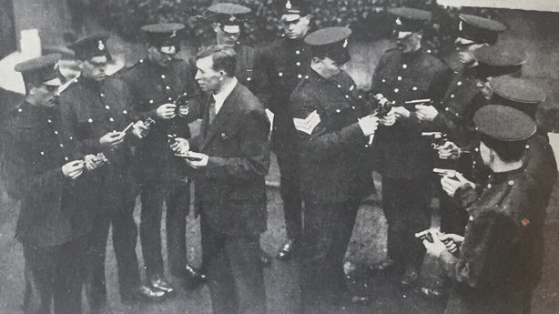 Members of the Dublin Metropolitan Police learning the mechanism of revolvers and pistols Photo: Irish Life, 17 October 1919