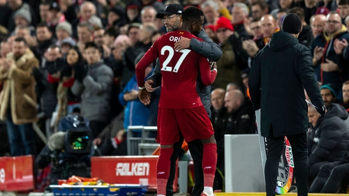 Klopp congratulates Origi after his two goal haul in the Merseyside derby