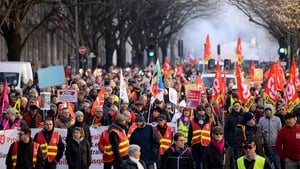 People protesting against the pension overhauls in Bordeaux