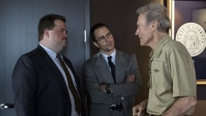 Richard Jewell star Paul Walter Hauser (left) on set with co-star Sam Rockwell and director Clint Eastwood