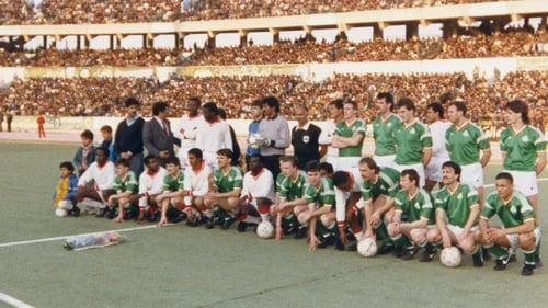 St Patrick's Athletic and Bohemians players, photographed in Republic of Ireland jerseys, pose for a picture with their opponents in Libya