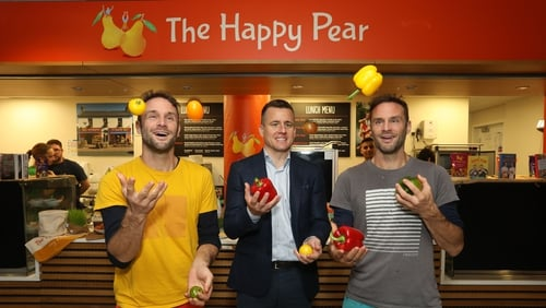 Brothers, David and Stephen Flynn, The Happy Pear, with Chris Chidley, Managing Director, Compass Group Ireland