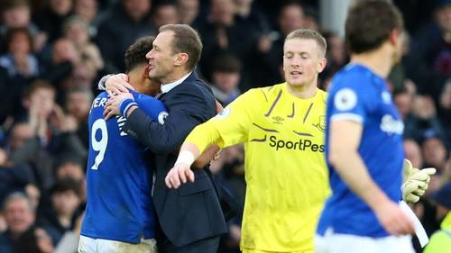 Interim Everton manager Duncan Ferguson celebrates victory with Dominic Calvert-Lewin