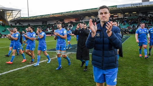 Jonathan Sexton with his Leinster teammates after their victory over Northampton