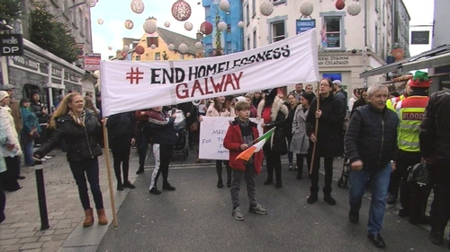 Up to 200 people gathered in Galway city to demand greater government action on the issue