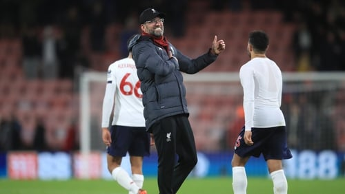 Jurgen Klopp salutes the Liverpool supporters after the 3-0 win over Bournemouth