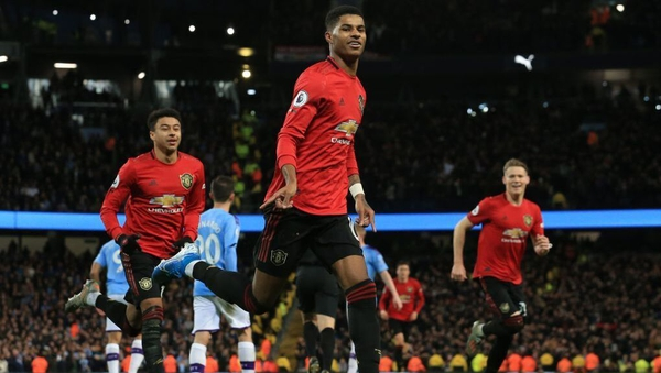 Marcus Rashford opened the scoring for Man United in the Manchester derby