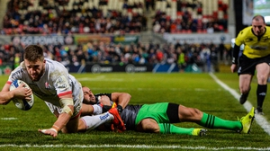 Stuart McCloskey scores Ulster's second try against Harlequins