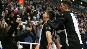 Federico Fernandez celebrates scoring the winning goal at St James' Park