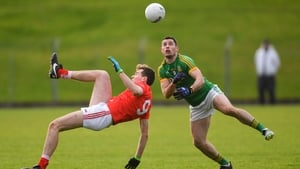 Donal Keogan of Meath in action against Louth's Conor Early