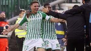 Joaquin celebrates his quickfire hat-trick for Real Betis