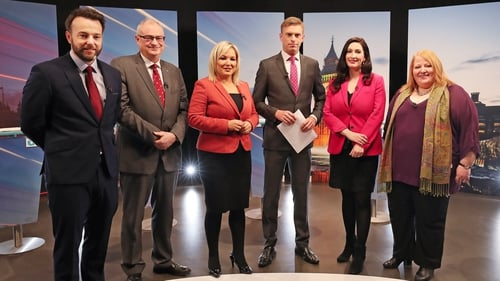 SDLP leader Colum Eastwood, Ulster Unionist leader Steve Aiken, Sinn Féin deputy leader Michelle O'Neill, DUP South Belfast Candidate Emma Little-Pengelly and Alliance leader Naomi Long with UTV presenter Marc Mallett at the recording of an election debat
