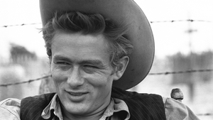 James Dean pictured on the set of Giant, released after his death in 1955