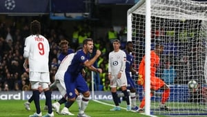 Cesar Azpilicueta scores Chelsea's second goal of the night at Stamford Bridge