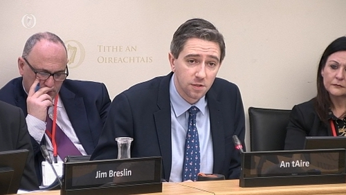 Simon Harris appearing before the Oireachtas Health Committee