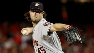 Gerrit Cole throwing for the Houston Astros in October