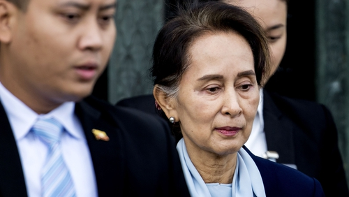 Aung San Suu Kyi leaving the UN International Court of Justice in The Hague