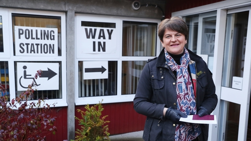 DUP leader Arlene Foster cast her vote in Enniskillen