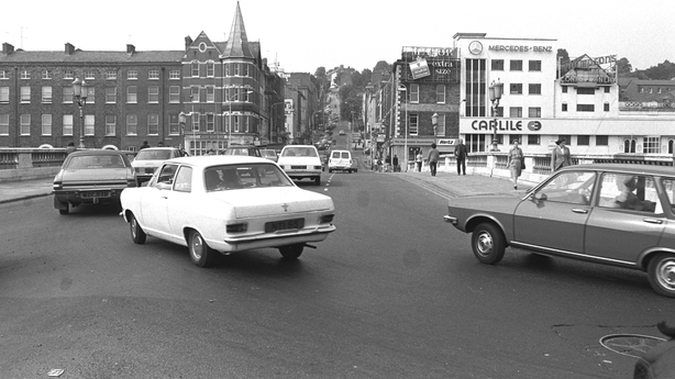 A view of St Patrick's Bridge from St Patrick's Street, Cork city in 1974.