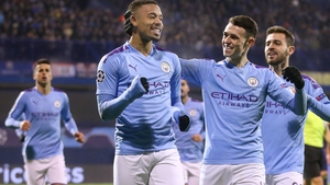 Gabriel Jesus (C) celebrates scoring with team-mate Phil Foden