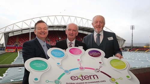 Charlie Mack (L) Extern CEO, Bernard Gloster (C) Tusla CEO and Mick Feehan (R) Chair of Extern at Thomond Park