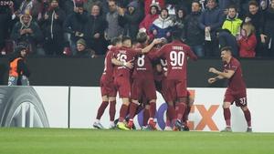 Cluj players celebrate Damjan Djokovic's goal