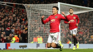 Mason Greenwood falls to his knees after completing his brace at Old Trafford