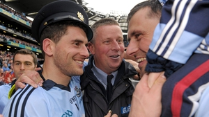 Paul Caffrey (C) joins in the celebrations in 2011 after Dublin's All-Ireland success