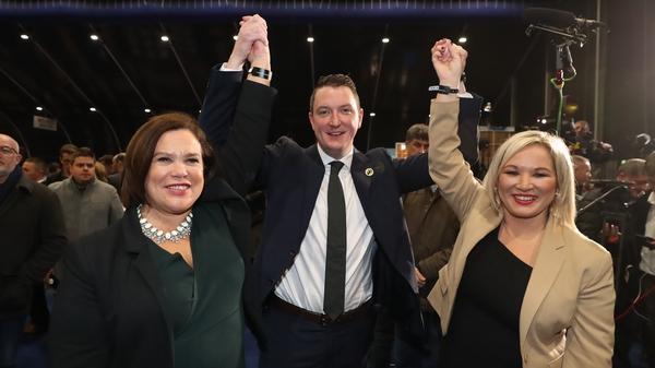 Mary Lou McDonald with John Finucane and Michelle O'Neill