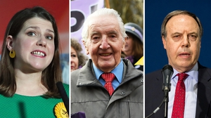 Lib Dem leader Jo Swinson (L), DUP deputy leader Nigel Dodds (R) pictured overnight as they and Dennis Skinner (file photo) lost their seats