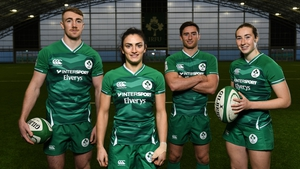 Ireland Sevens players, from left: Terry Kennedy, Lucy Mulhall, Billy Dardis and Eve Higgins