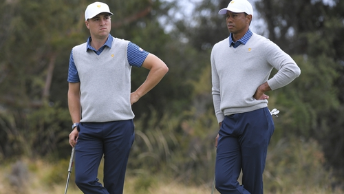 Justin Thomas and US Team Captain Tiger Woods