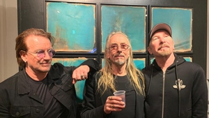 Bono, Guggi and The Edge at a recent showing of Guggi's work in Toyko