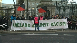 An anti-racism gathering outside the Dáil last December