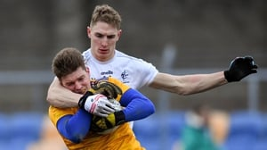 Robert Lambert of Wicklow is tackled by Daniel Flynn of Kildare during their O'Byrne Cup match