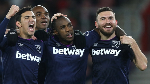 West Ham players celebrate their victory