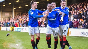 Alfredo Morelos was given a second yellow card