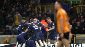Tottenham players celebrate Jan Vertonghen's winner
