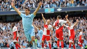 Sergio Aguero celebrates his famous title-winning goal against QPR