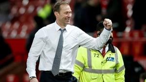 Everton interim manager Duncan Ferguson celebrates after the match at Old Trafford
