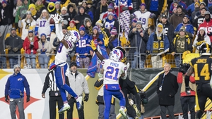 Buffalo Bills cornerback Levi Wallace (39) intercepts the ball intended for Pittsburgh Steelers wide receiver James Washington (13)