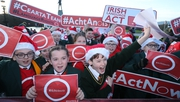 Children marched to the front of Parliament Buildings calling for legislation on the Irish language