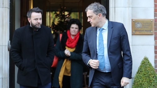 Colum Eastwood and Clare Hannah of the SDLP with Northern Ireland Secretary Julian Smith